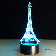 3D Night Light 7 Color Eiffel Tower Desk Lamp Remote Touch USB LED Night Light Home Decor Christmas Gift For Children AW-041 cool creative pokemon espeon 3d lamp usb cartoon night light led 7 color touch table lamp children christmas gift hui yuan brand