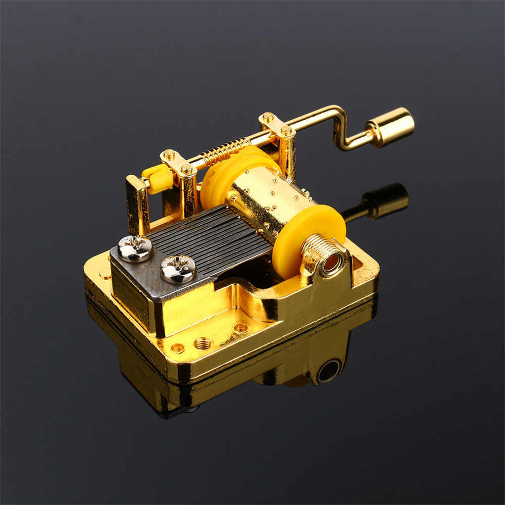 18 Tones Hand Cranked Music Box Mechanical Musical Movement Part Mechanical Music Box Golden Metallic Musical Movement