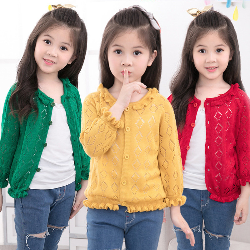 Spring Autumn Girls Hollow Out Ruffles Ruched Cardigan Sweater 4 Colors Baby Girls Preppy Style Thin Knitted Sweaters 2-14T