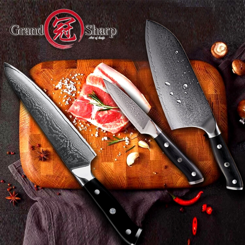 Grandsharp Damascus Kitchen Knives vg10 Japanese Damascus Steel Knife Set Chef Cleaver Paring Chef s Tools