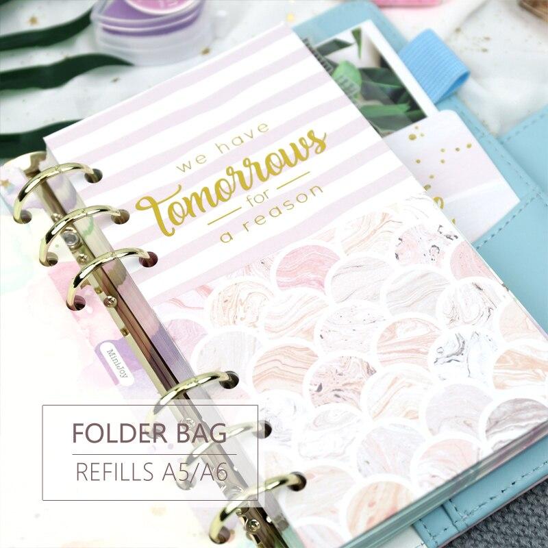 MyPretties Fantasy A5 A6 Folder Bag Storage Bag Divider Refills For 6 Hole Loose Leaf Notebook Organizer Inside Pages