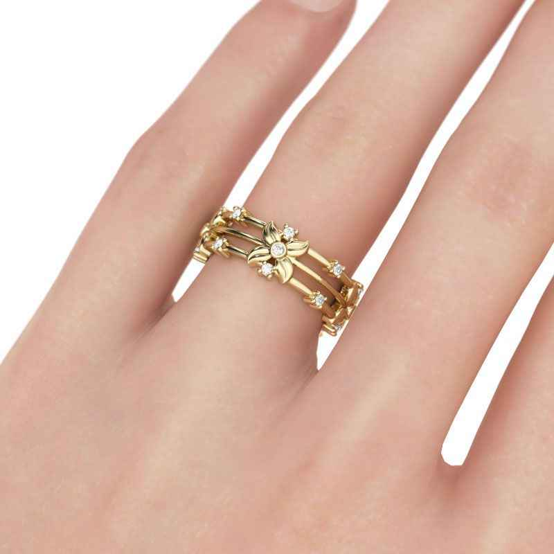แฟชั่นดอกไม้งานแต่งงานทองแหวน Cubic Zirconia พราวเดซี่ของขวัญเครื่องประดับอุปกรณ์เสริมแหวน