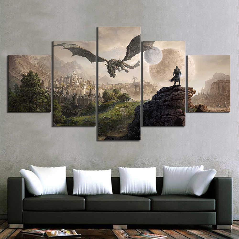 Home Decor Modular Canvas Picture 5 Piece Elder Scrolls 4 Skyrim Game Painting Poster Wall For Home Canvas Painting Wholesale