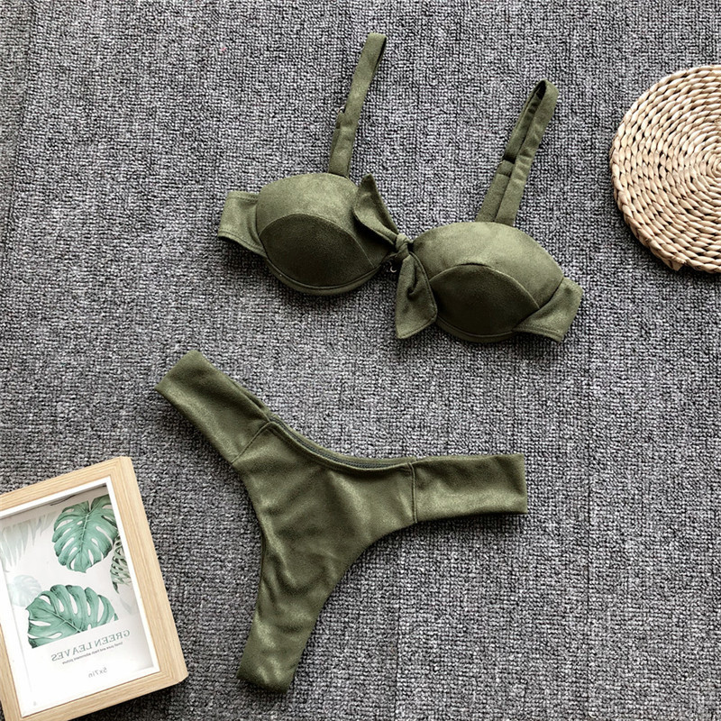 2020 Summer Thong Sexy Bikinis Mujer Biquini Front Tie Sheer Swimsuit Push Up Swimwear Women Beach Wear Female Bathing Suit 1