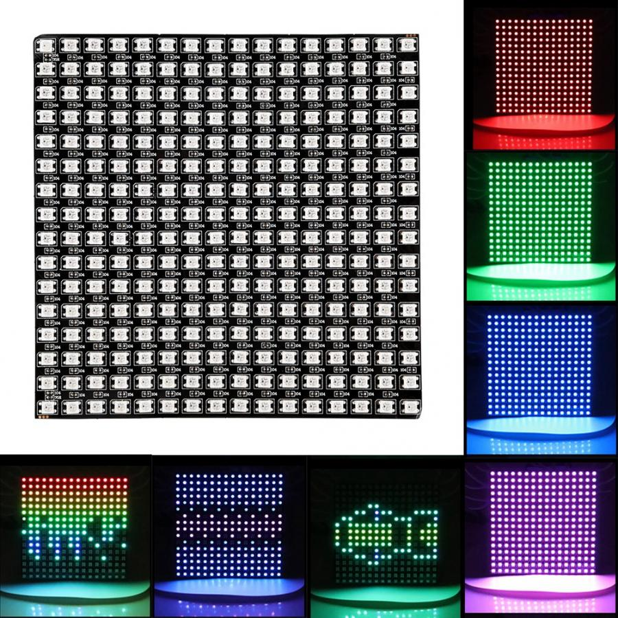 WS2812B RGB 16*16 Pixels Digital Flexible Dot Matrix Individually Addressable LED Display Scree Wattmeter