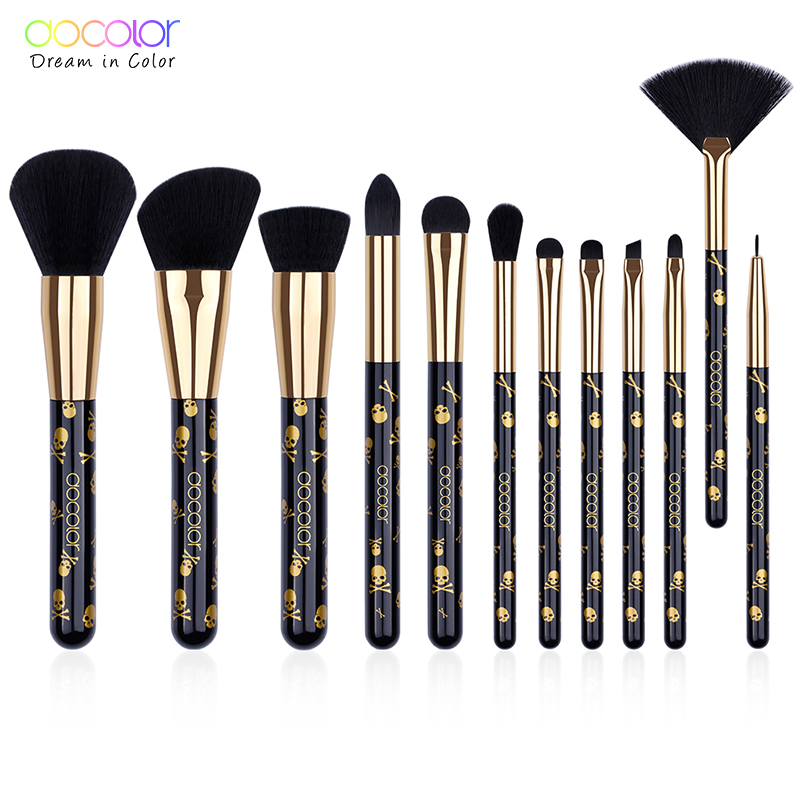 Docolor New Makeup Brushes Set 12PCS Make Up Brushes Soft Synthetic Hair Powder Contour Eyeshadow Eyebrow Brush Pincel Maquiagem цена
