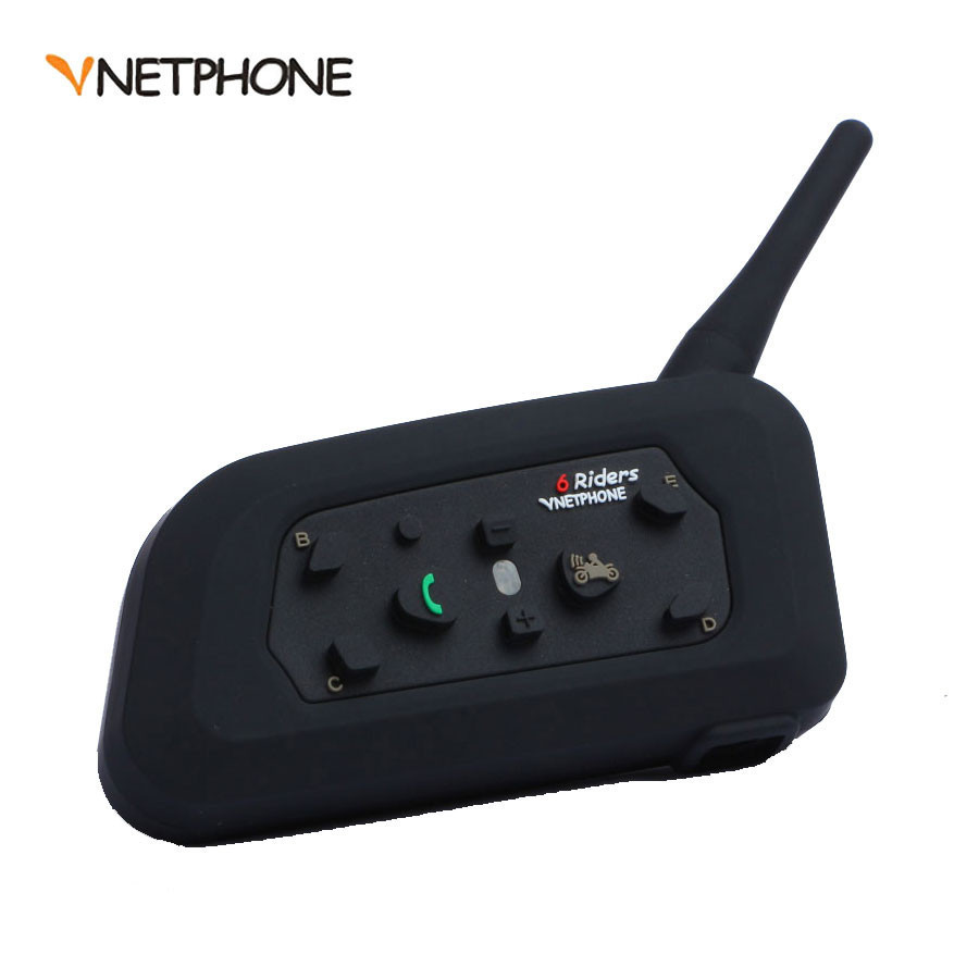 Vnetphone V6 1200 M moto Bluetooth casque Interphone Duplex complet pour 6 coureurs BT sans fil motocicleta Interphone casques