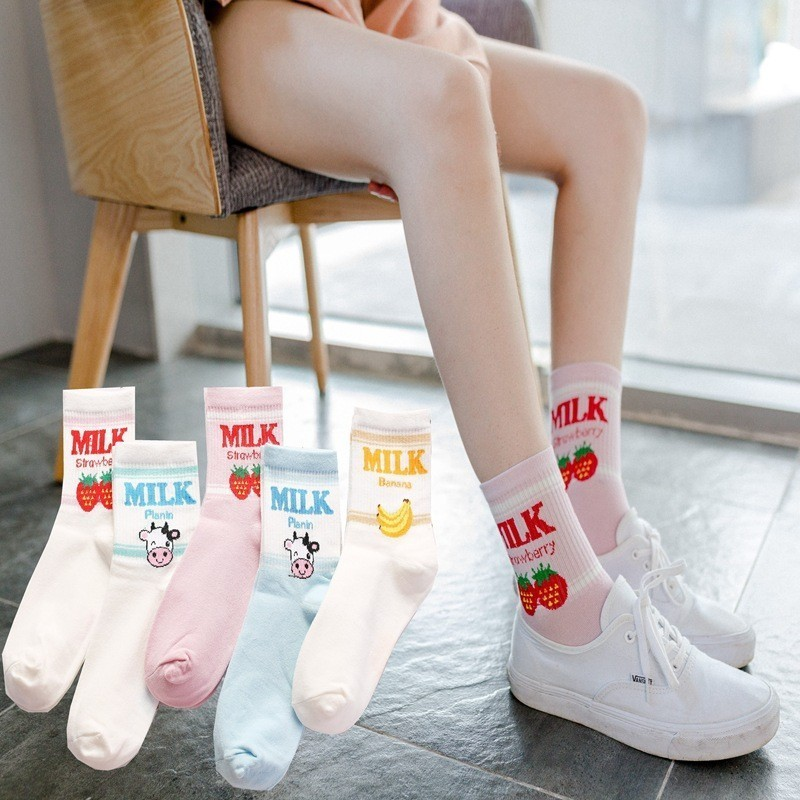 Japanese Kawaii Strawberry Banana Milk Cow Ankle   Socks   Cute Lovely Girls Lolita Sweet Fruit Milk Juice Patterned Short   Socks
