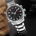 NAVIFORCE Лидирующий бренд Для мужчин Военные Спортивные часы Для мужчин s светодиодный аналоговые цифровые часы мужские армейские из нержавею...