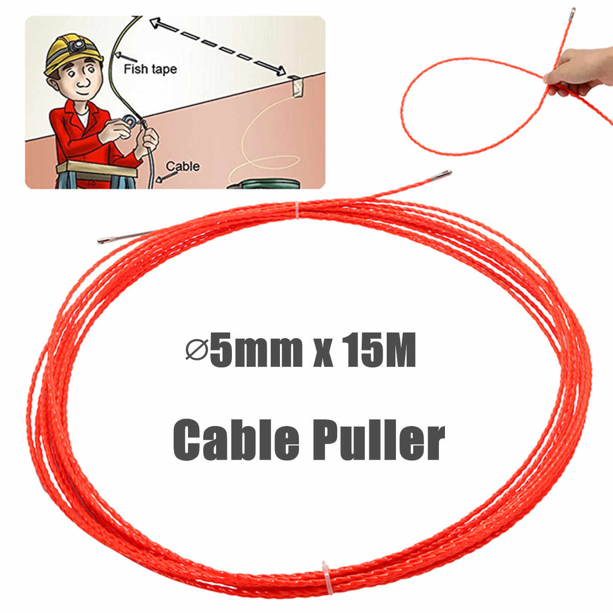 15M 5mm Professional Cable Push Puller Rodder Reel Conduit Snake Fish Tape Wire Electrical Wiring Accessories Cabling Tools