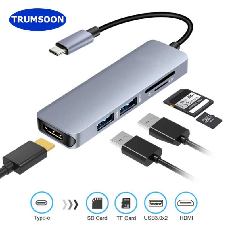 Trumsoon type-C Thunderbolt к HDMI 4K USB 3,0 концентратор адаптер SD TF кардридер для MacBook samsung S8 S9 huawei Matebook Mate20