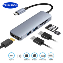 Trumsoon Type-C Thunderbolt to HDMI USB3.0 HUB Adapter SD TF Card Reader for MacBook Samsung Huawei