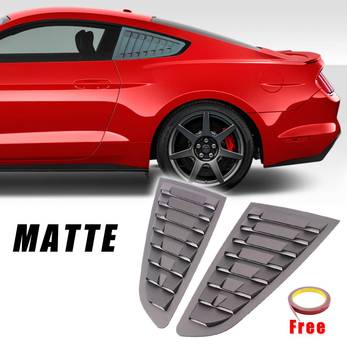 2Pcs ABS Matte Black Rear Quarter Panel Window Side Vent Louvers Shield Sticker For <font><b>Ford</b></font> For <font><b>Mustang</b></font> <font><b>2015</b></font> 2016 2017 2018 2019 image