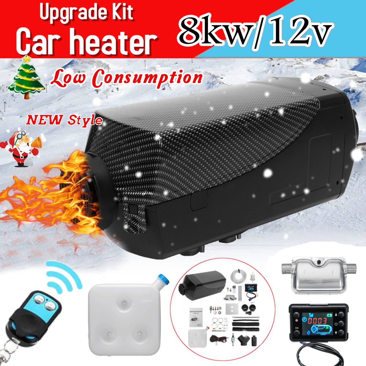 12V 8000W LCD Monitor Air diesels Fuel Heater Single Hole 8KW For Boat Bus Car Heater With Remote Control and Silencer For free 3phase 10hp r407c compressor 36 8kw heating capacity specially designed for hotel and resturant water heater