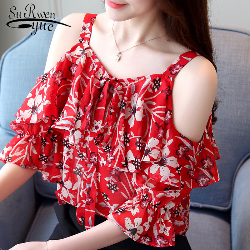 fashion woman   blouses   2019 print chiffon   blouse     shirt   sexy off shoulder tops short sleeve women summer tops   shirt   blusas 1880 50