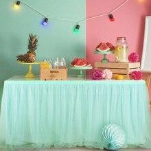 183x78 см Тюлевая юбка-пачка для стола, Тюлевая скатерть с эластичной сеткой, столовая посуда, вечерние скатерти для свадьбы, дня рождения, украшение дома, мятно-зеленый цвет
