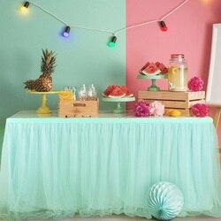 183x78 cm tutu tule mesa saia malha elástica tule utensílios de mesa toalha de mesa para festa de casamento aniversário decoração para casa verde hortelã