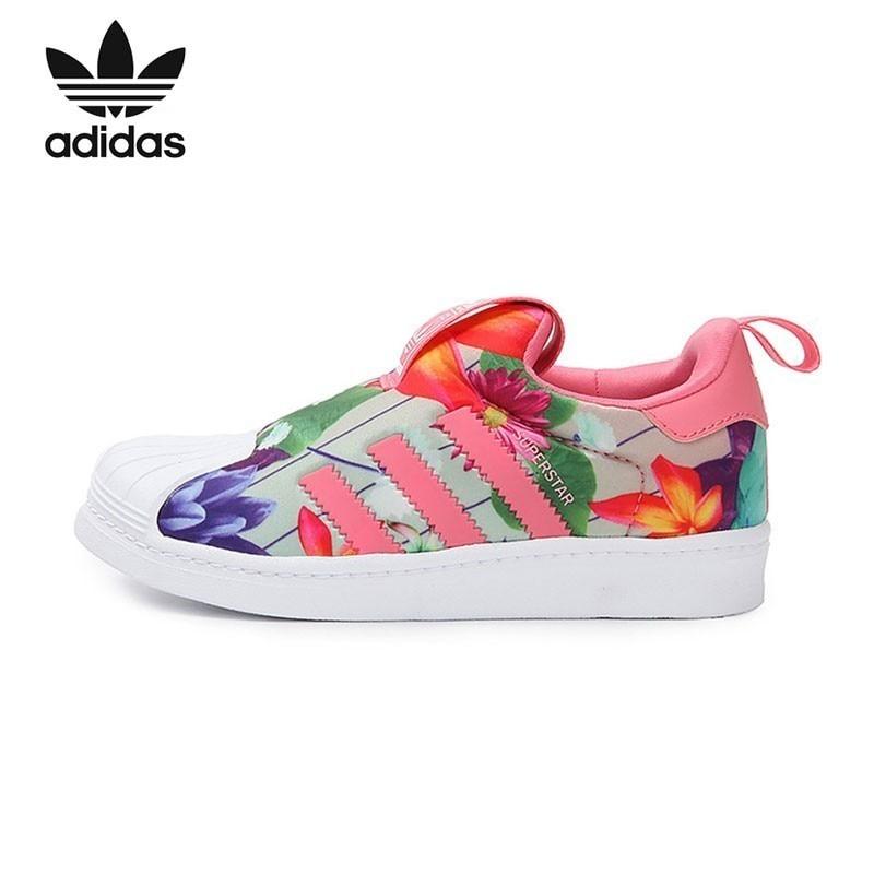 € 39.63 59% de réduction|Adidas Superstar Original enfants chaussures de course respirant léger enfants Sports de plein air baskets # CQ2550 in