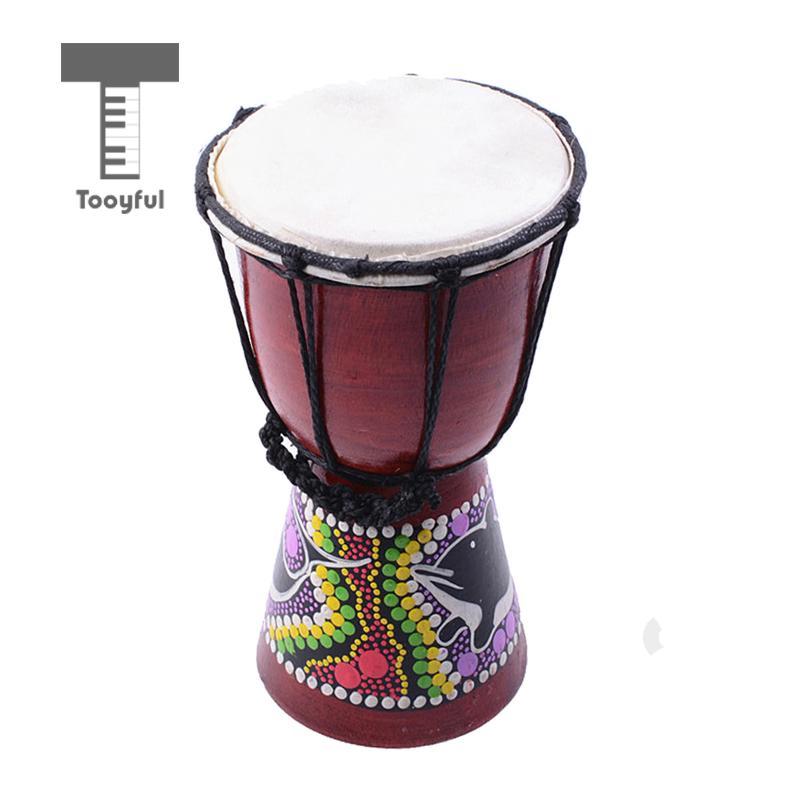 Tooyful 4 Inch Mini Djembe Darbuka African Bongo Hand Drum Dance Drum For Drummer