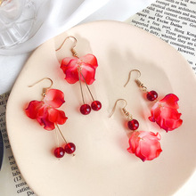 Korea Trendy New Elegant Red Flower petals and leaves Drop Earrings Cute long fringed beads Fashion Jewelry For Women