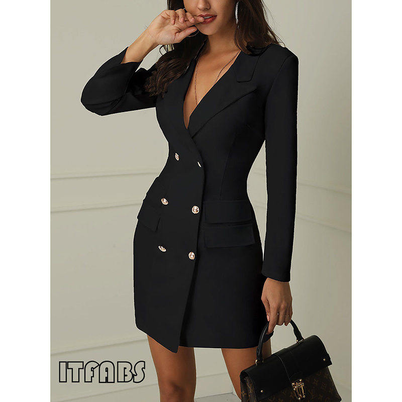 Women Elegant Sexy   Trench   Blazer Coats Long Sleeve Double Breasted Gold Button Front Military Coat Black White Outerwear 2019