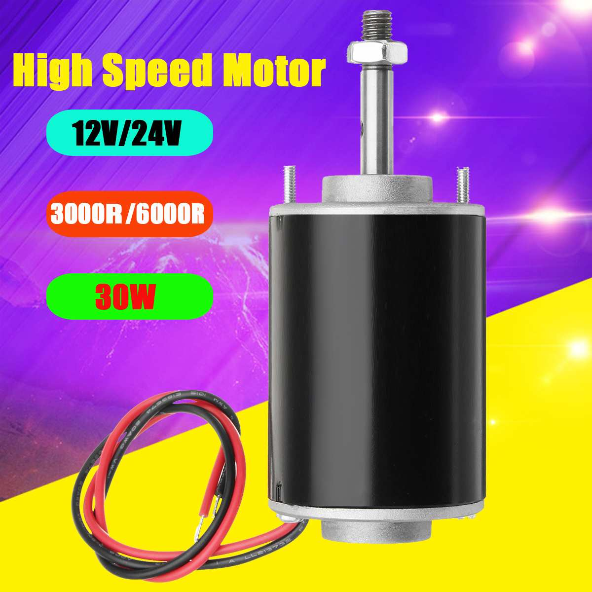 12/24V 30W 3000/6000rpm High Speed Permanent Magnet DC Motor For DIY Generator for Car Truck Grinders Electric Drills Boat Toys