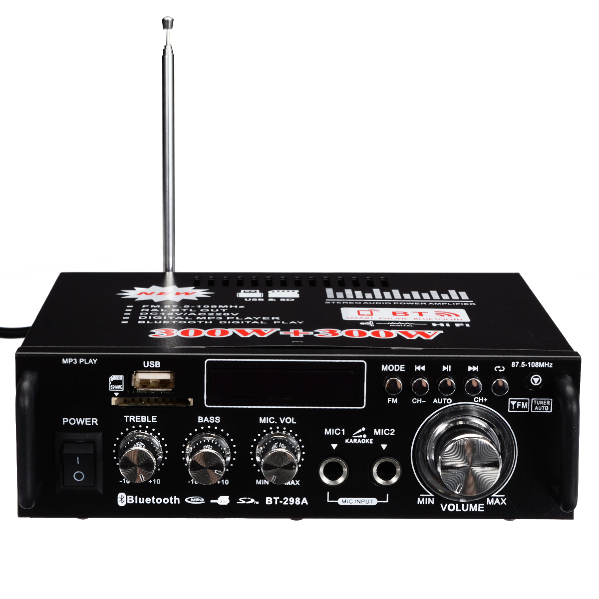 Mini Digital Audio เครื่องขยายเสียง 600 W ไฮไฟสเตอริโอบลูทูธสเตอริโอ Power Amplifiers FM USB SD สำหรับรถบ้านรีโมทคอนโทรล-ใน เครื่องขยายเสียง จาก อุปกรณ์อิเล็กทรอนิกส์ บน AliExpress - 11.11_สิบเอ็ด สิบเอ็ดวันคนโสด 1