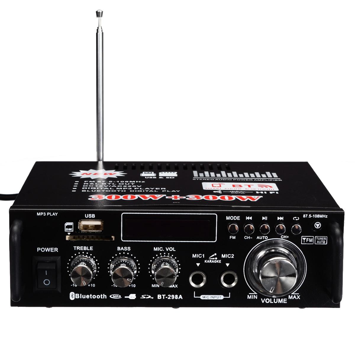 Mini Digital Audio Amplificatore 600 W HiFi Bluetooth Stereo Amplificatori di Potenza Audio FM AMP USB SD per Auto A Casa con a distanza di ControlloMini Digital Audio Amplificatore 600 W HiFi Bluetooth Stereo Amplificatori di Potenza Audio FM AMP USB SD per Auto A Casa con a distanza di Controllo