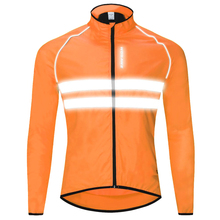 Womens Mens Long Sleeve Cycling Jersey Jacket Shirt Quick Dry Breathable Mountain Clothing Reflective Bike Top Orange