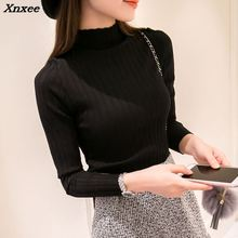 Xnxee 2018 Knitted Turtleneck Sweater New Fashion Autumn Winter Long Sweaters Tops Womens Casual Crochet Turtlenecks