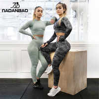 NADANBAO Fitness Hosen Frauen Leggings Camouflage Womens Training Legging Hohe Taille Flexible Gym Sporting Leggin Plus Größe
