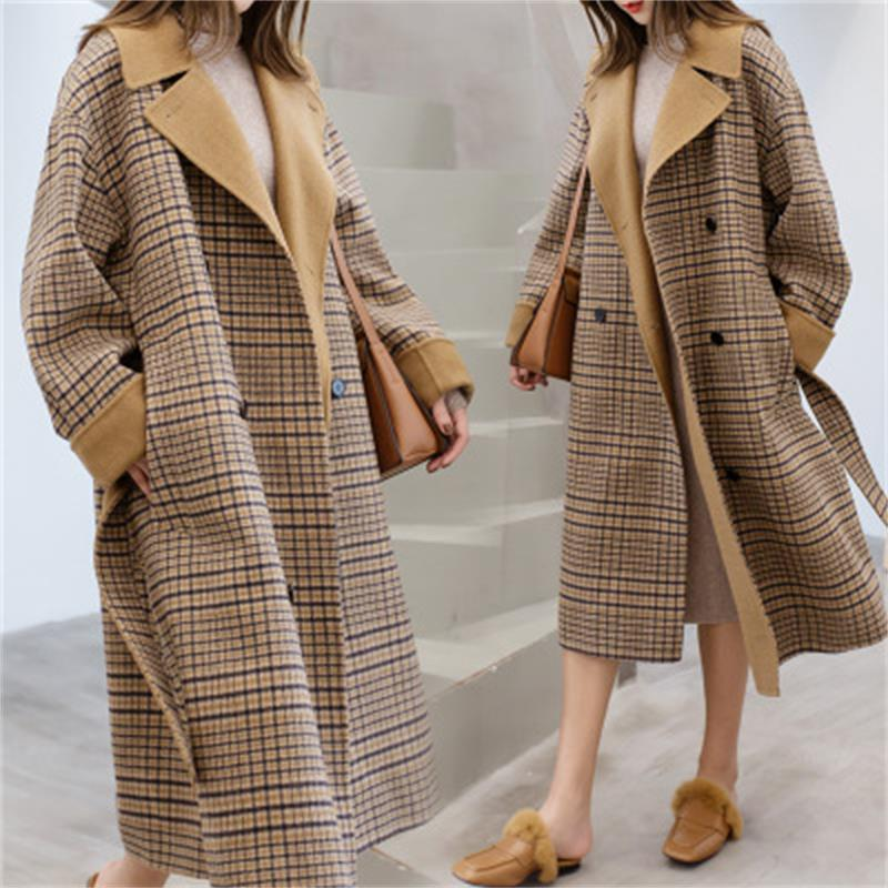 Autumn Winter Oversized Plaid Woolen Coat Turn-down Collar Double Breasted   Trench   Coat Women Over Knee Heben Style Windbreaker