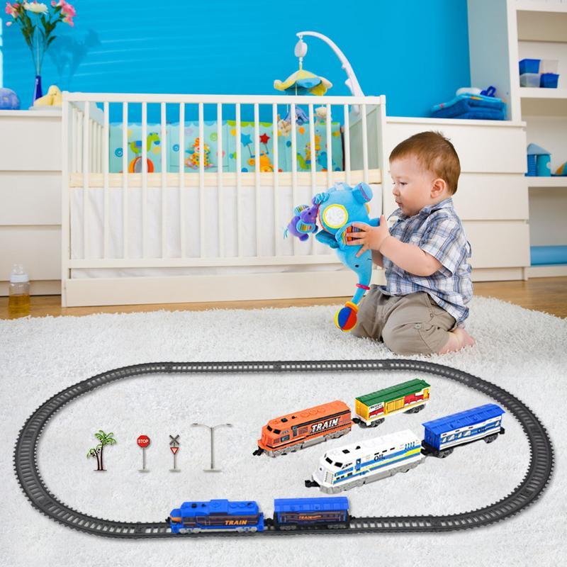 Children's Electric <font><b>Train</b></font> Track Toy Puzzle DIY Assembled 215CM Double Section <font><b>Train</b></font> Track Model Toy Baby Beautiful Birthday Gift image