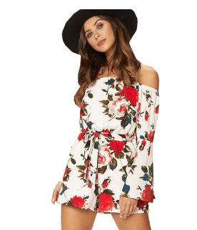 ZAFUL Belted Off Shoulder Flower Romper Flare Sleeves Women Summer Playsuits Vacation Holiday Beach Jumpsuits Streetwear 2019 5