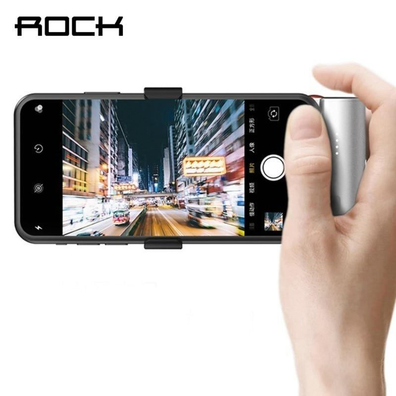 Coque batterie Rock prise de vue sans fil pour iPhone Xs X 8 7 6 s Bluetooth prise de vue batterie externe pour Samsung Huawei Xiaomi Powerbank Travel