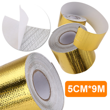 Universal 9M*5cm Car Heat Insulation Shield Reflective Fiberglass Tape Engine Pipe Cover Auto Temperature Isolated