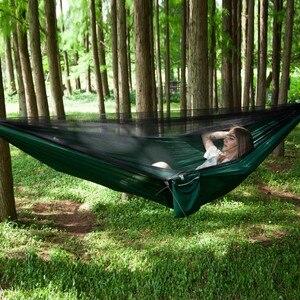 Image 4 - Ulatralightダブル蚊帳ハンモック簡単セットアップhamak 290*140センチメートル風のロープ爪ポータブルキャンプ旅行ヤード