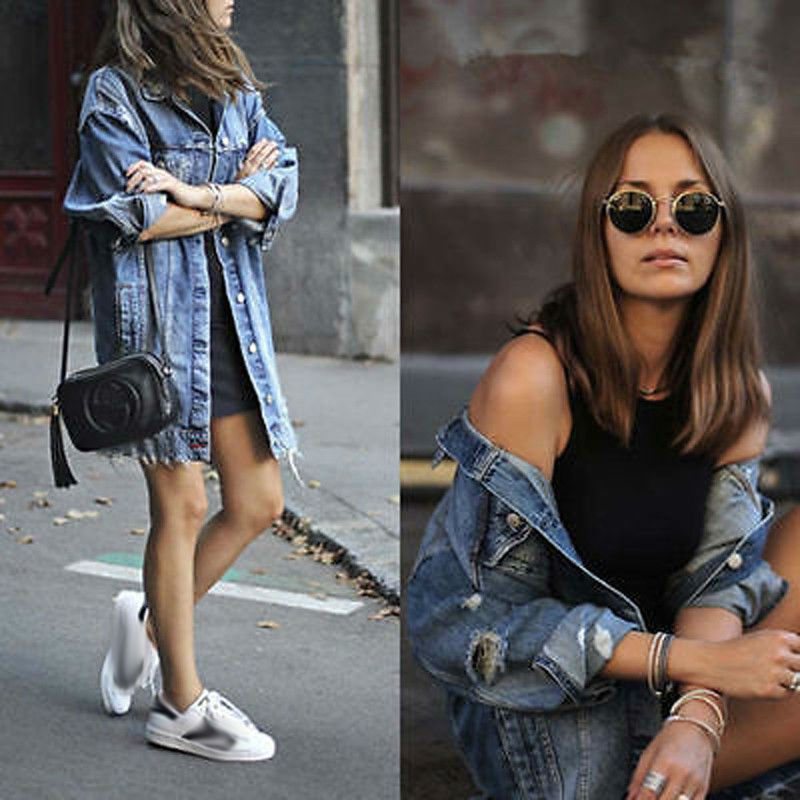 Women s Basic Coat Holes Baggy Denim Jacket Long Sleeve Loose Street Style Outwear Winter NEW Women's Basic Coat Holes Baggy Denim Jacket Long Sleeve Loose Street Style Outwear Winter NEW