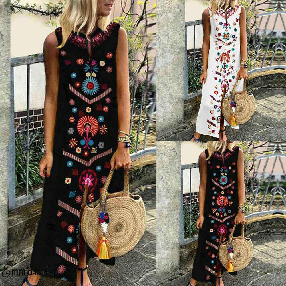 Mulheres oversize boho sem mangas floral solto kaftan coquetel vestido longo ummer impressão praia vestido plus size S-5XL