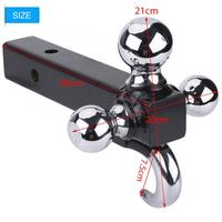 Triple 3 Ball Trailer Hitch Receiver Mount 1 7/8 2 2 5/16 Towing with Hook compact hitch mount for 3 different trailer