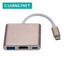 Loại C Adapter Dock Hub USB C to HDMI 4K USB 3.0 Loại C PD2.0 Sạc Dữ Liệu Cáp Video cho MacBook Laptop Điện Thoại