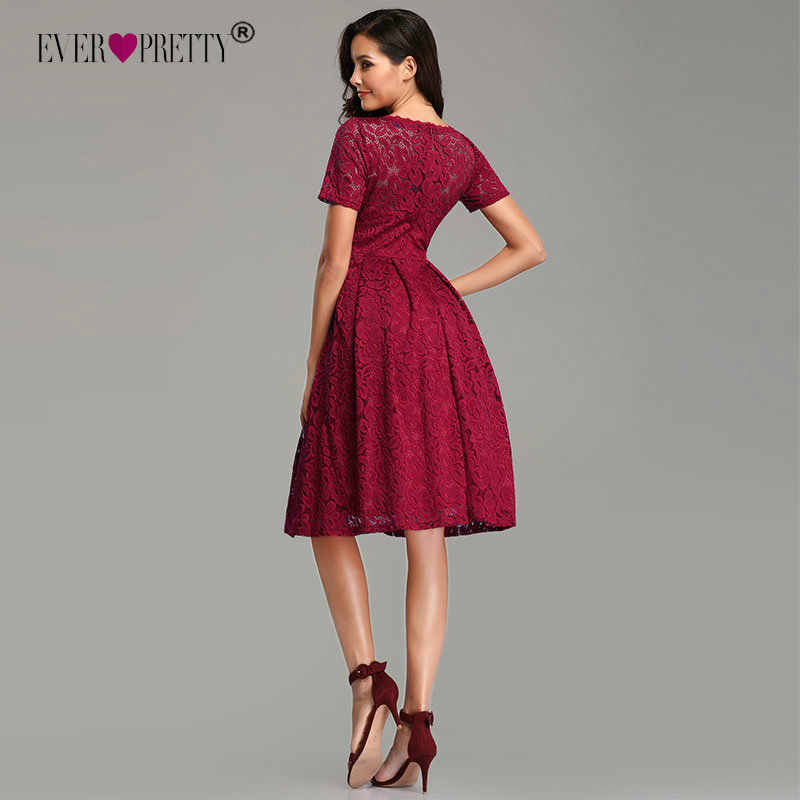 c37b42a15332f45 ... Бордовые кружевные вечерние платья короткие 2019 Ever Pretty элегантные  трапециевидные с коротким рукавом зимние Официальные Вечерние ...