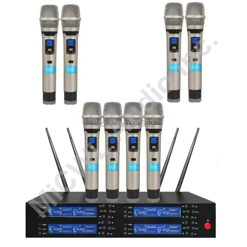 Top Quality 8 Channel Stage Karaoke Wireless Microphone System KTV Singers Handheld Wireless Mic UHF 600MHz rang adjustable