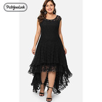 Pickyourlook Lace Women Maxi Dress Plus Size Summer Black Sexy Club Backless Robe Femme Wedding Evening Party Oversized Vestidos