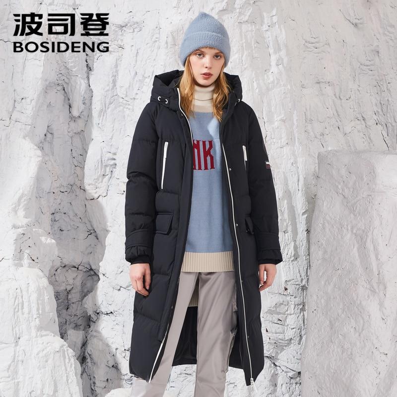BOSIDENG 2018 haute couture profond hiver 90% chair de Poule le long manteau sur le genou vers le bas veste à capuchon X-long parka étanche B80142164