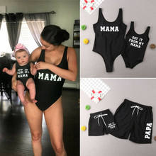 2019 Fashion Mommy and me Father and son swimsuit Matching family outfits woman man baby Girl Boy Swimwear one piece suit Bikini(China)