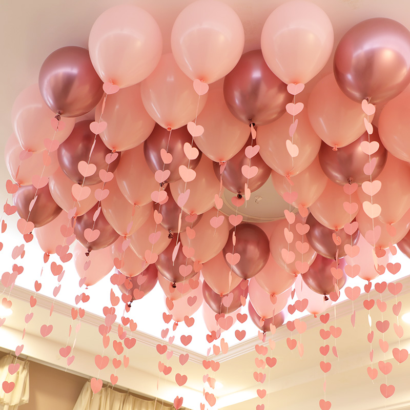 30P10inch Metallic Red Heart Ruby Agate Red Balloon Wedding Room Valentine Day Decorated Date Red Pomegranate Red Balloon Party