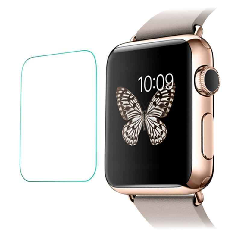 2pcs Smart Watch Transparent Protector Tempered Glass Screen Protective Front Film 8-9H Hardness for iWatch Apple Watch