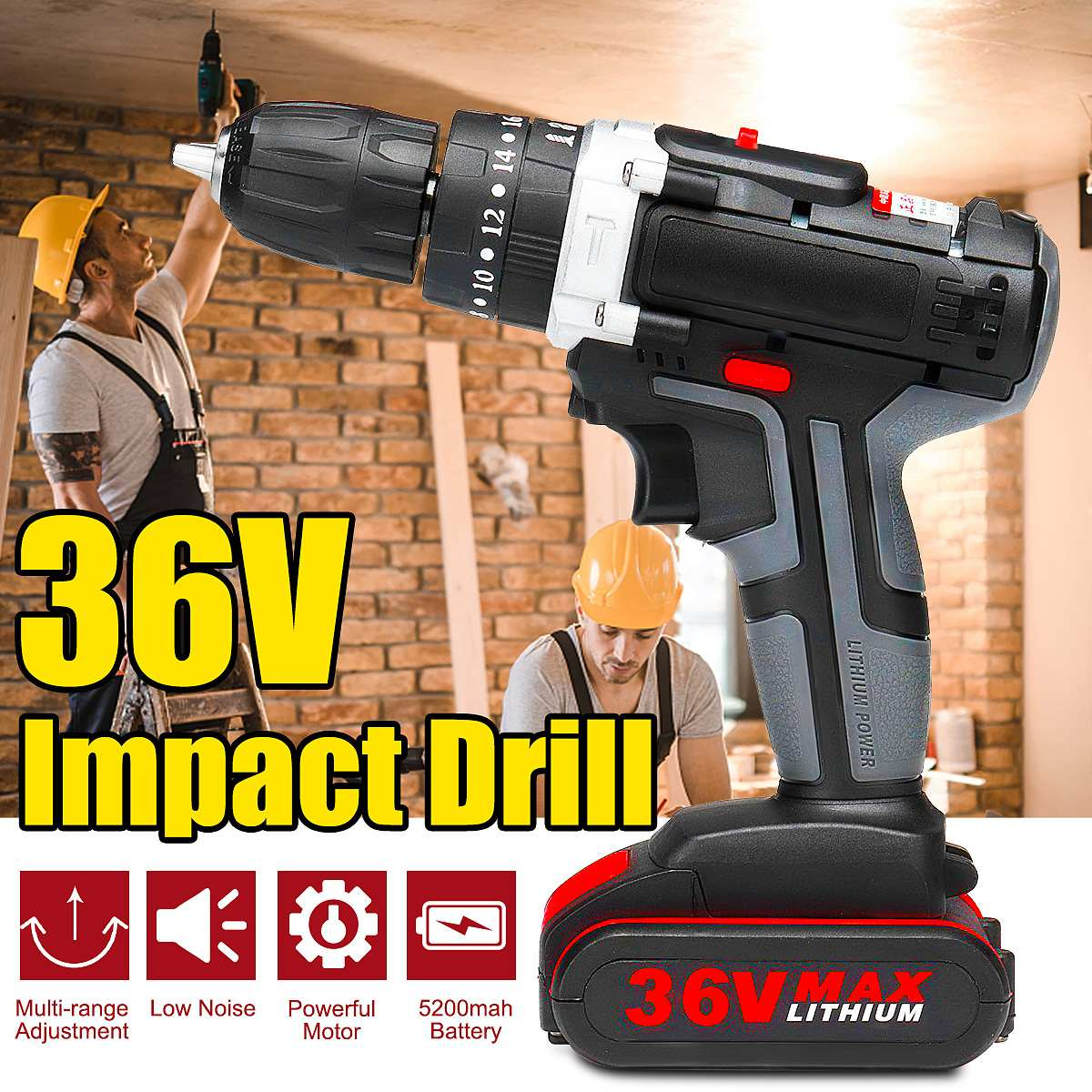 Professional 36V Electric Impact Cordless Drill 1/2 Rechargeable Li-ion Battery Wireless DIY Home Electric Wrench Power ToolsProfessional 36V Electric Impact Cordless Drill 1/2 Rechargeable Li-ion Battery Wireless DIY Home Electric Wrench Power Tools
