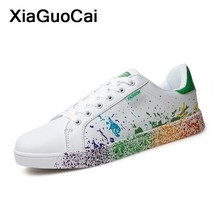 Women Casual Shoes Graffiti Unisex Couple Lovers Flats Breathable Lace Up Fashion Female Footwear Classic Plus Size 2019 zapatos